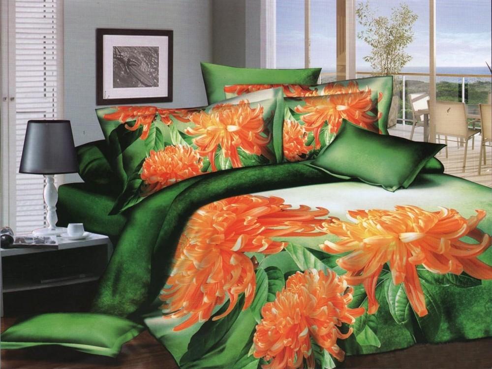 Сатиновое постельное белье «Изумрудный покой», евро комплект