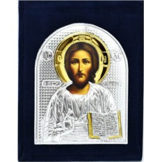 Маленькая серебряная икона Спасителя в бархатном футляре