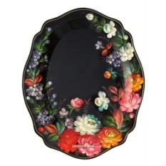 Малый овальный глубокий поднос Летние цветы на черном фоне