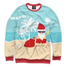 Мужской свитшот Дед Мороз на пляже