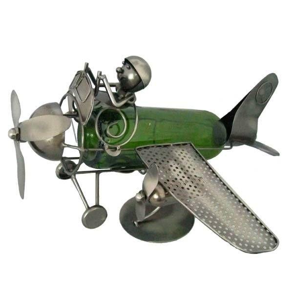 Декор бутылки Летчик и самолет