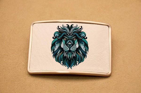 Пряжка для ремня с кожаной вставкой Орнаментный лев