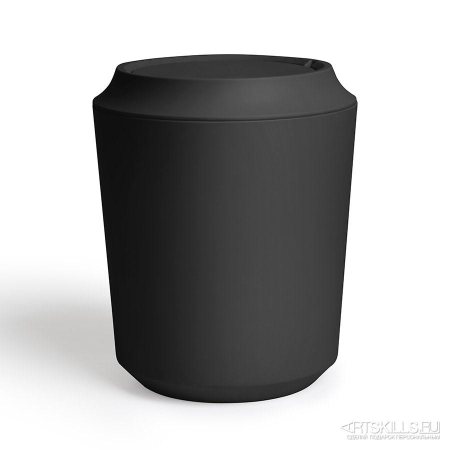Чёрная корзина для мусора с крышкой Kera