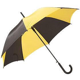 Зонт с пластиковой ручкой, черно-желтый