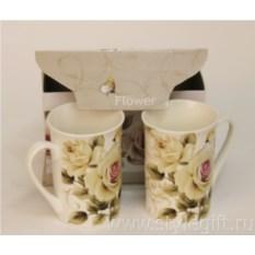 Фарфоровый чайный набор Розы из 2 предметов