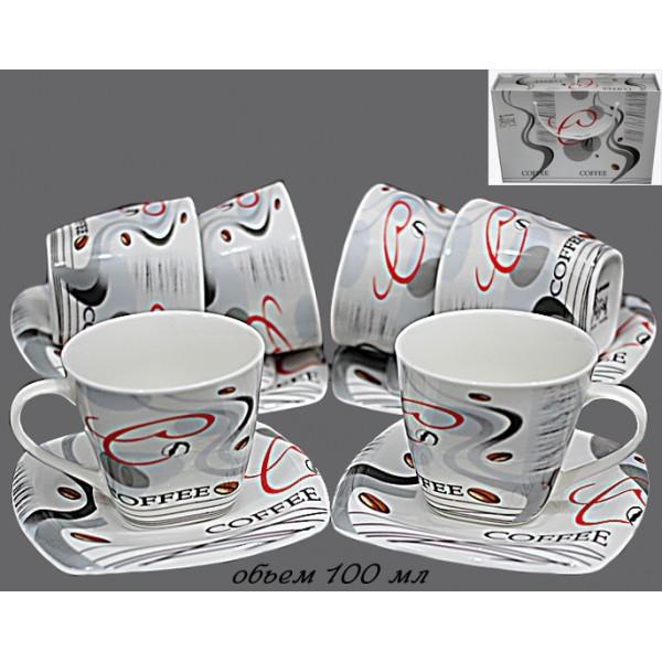 Кофейный набор из 12 предметов в подарочной упаковке, фарфор
