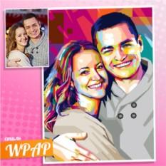 Совместный WPAP портрет на холсте по фото