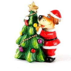 Декоративная фигурка Собачка Санта с елочкой