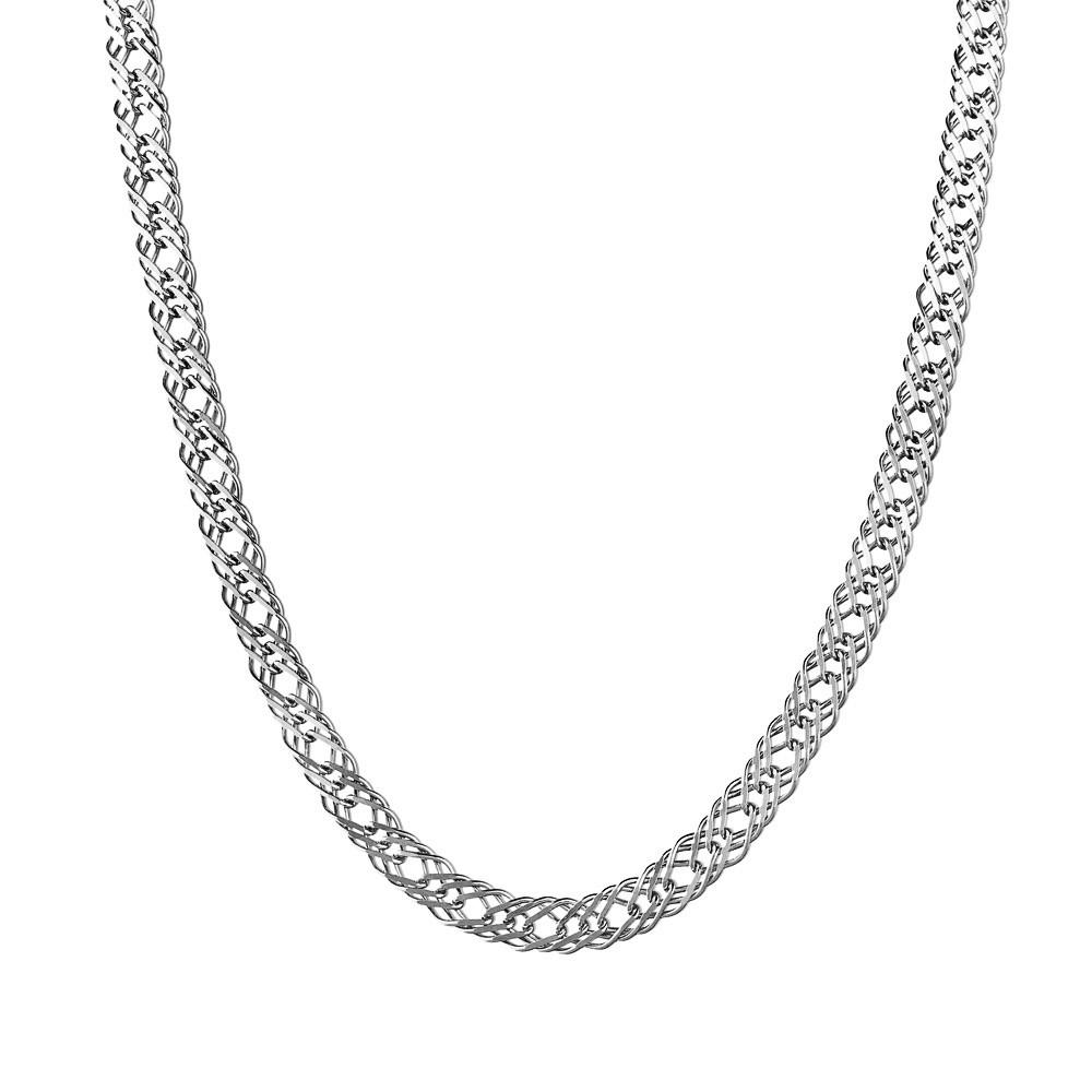Мужская цепь из серебра, плетение Тройной ромб