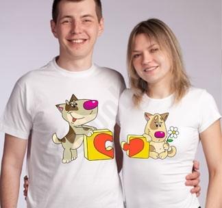 Парные футболки Пазл сердце