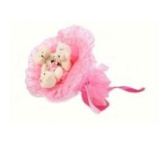 Розовый букет из мягких игрушек Медвежата