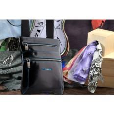 Кожаная черная сумка-планшет Dor.Flinger