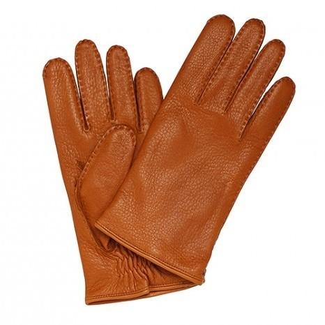 Рыжие перчатки Merola из кожи оленя