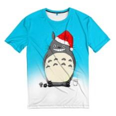 Мужская футболка 3D Тоторо под снегом