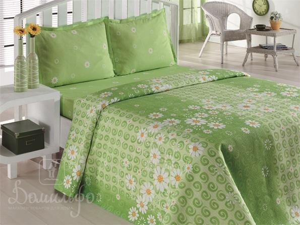 Постельное белье Daisy Papatya зеленое 145х210 1,5-сп