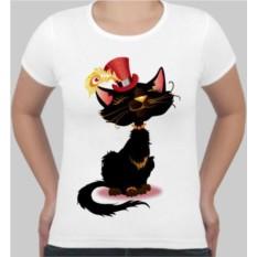Женская футболка Кошка в шляпке с пером