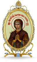 Серебряная настольная икона с образом Богородицы Семистрельная