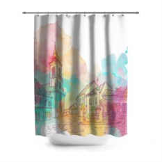 3D-штора для ванной Акварельный город