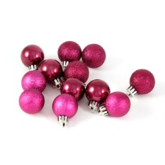 Набор ёлочных игрушек Шары темно-розового цвета