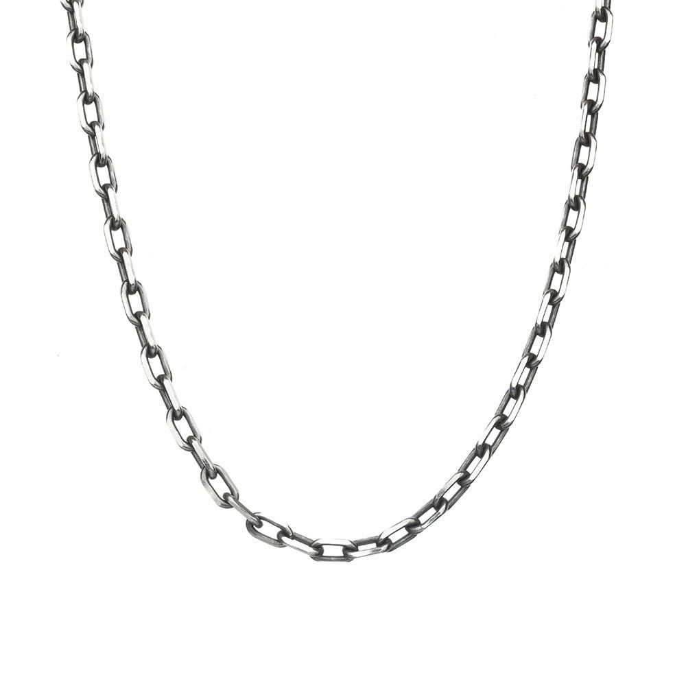 Мужская серебряная цепь с чернением
