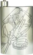 Мужская серебряная фляга Ружье