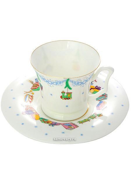 Чашка с блюдцем кофейная, форма Юлия, рисунок Ёлка