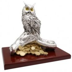 Скульптура Филин на ветке с деньгами