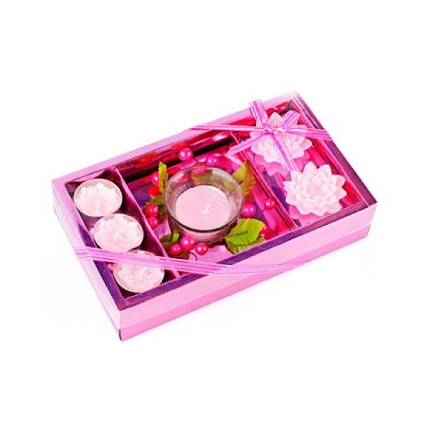 Набор свечей Нежность; розовый