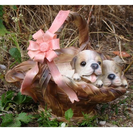 Кашпо Два щенка в корзине