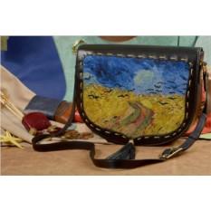 Женская кожаная сумка-седло Ворона над пшеничным полем