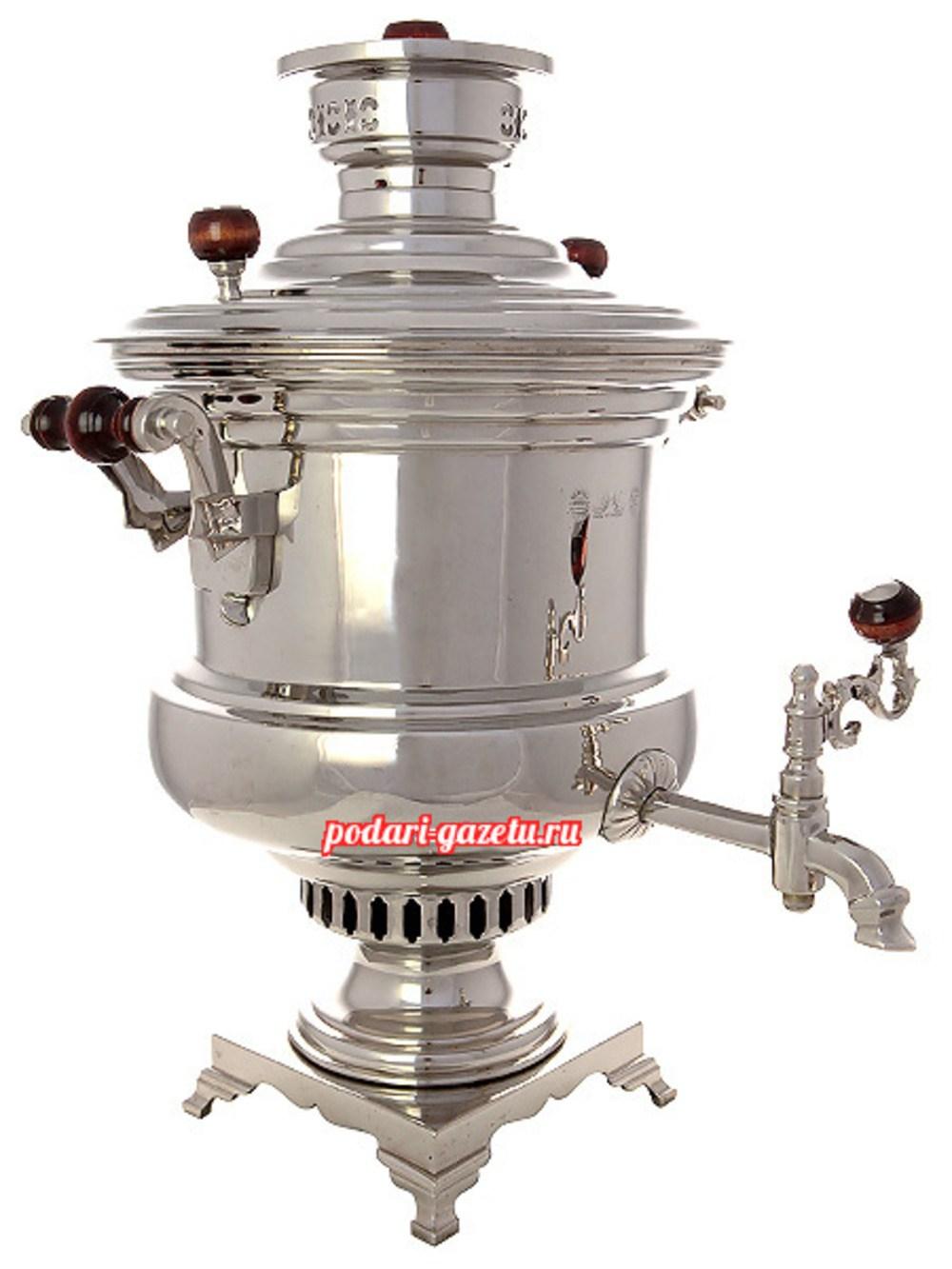 Угольный самовар (жаровой, дровяной) (6 литров) никелированный катушка
