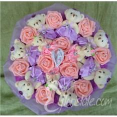 Мягкий фиолетовый букет Романтика из плюшевых мишек