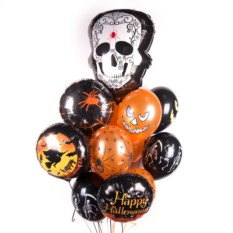 Букет шаров на Хэллоуин с Белым черепом