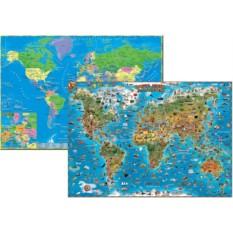 Двухсторонняя карта мира для детей