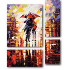 Модульная картина «Пара под дождем» 75×93 см