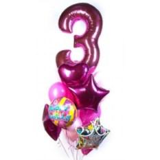 Букет шаров с цифрой Нежный возраст