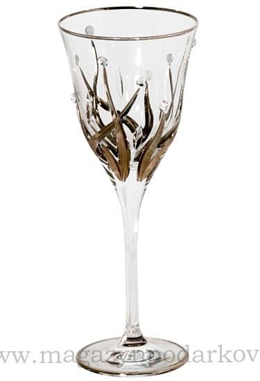 Набор из 6 бокалов для вина 190 мл Cre Art Зара, с кристаллами и платиной