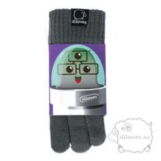 Серые полушерстяные сенсорные перчатки iGloves