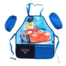 Синий детский фартук с нарукавниками Тачки