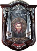 Серебряная икона Спас Нерукотворный, в деревянном киоте