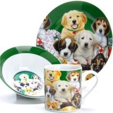 Зеленый набор детской посуды 3 предмета Собачки
