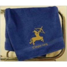 Синее махровое полотенце Стрелец