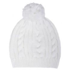 Белая шапка Irish с помпоном