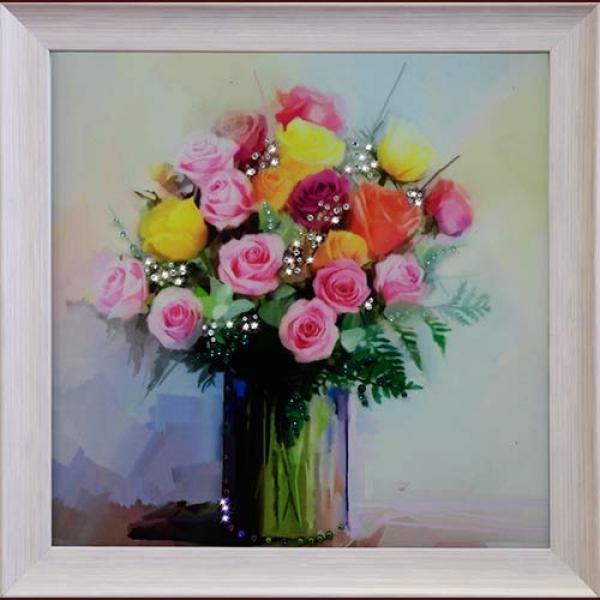 Картина с кристаллами  Swarovski Розовый комплимент