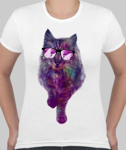 Женская футболка Фиолетовый кот