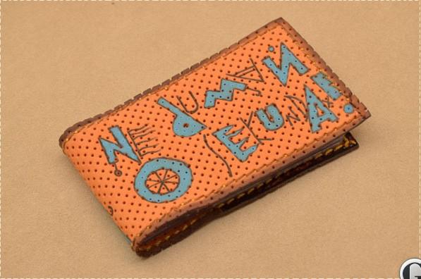 Карманная визитница. Коллекция Altamira (оранжевый; тип 1; нат. кожа)