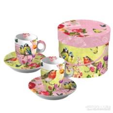 Подарочный набор чашек для эспрессо Vintage robin&roses
