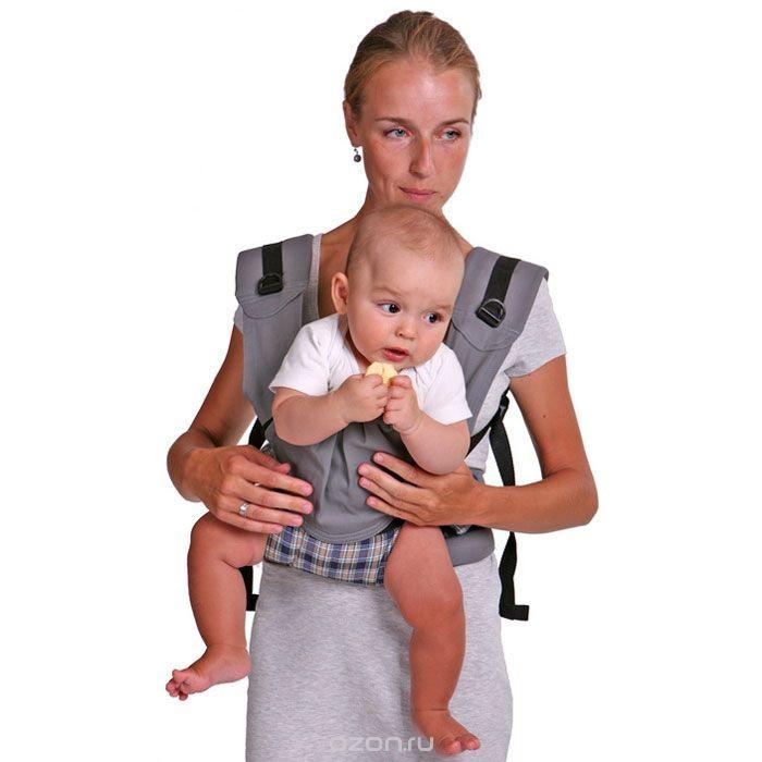 Серый эргономический слинго-рюкзак Бебимобиль