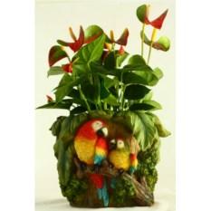 Садовая фигура-кашпо Пень с попугаями