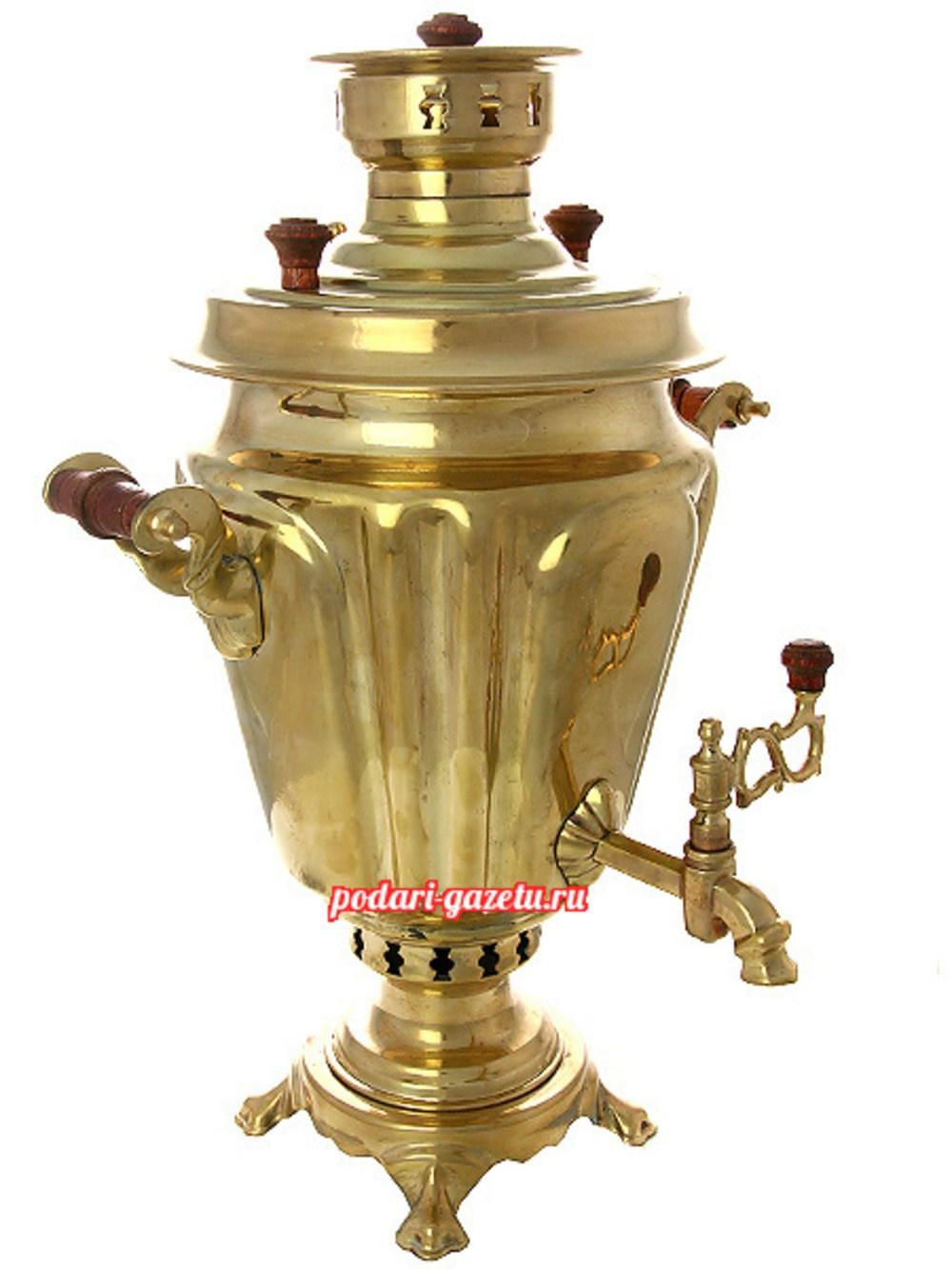 Комбинированный самовар (электрический/угольный) на 5 литров желтый конус граненый